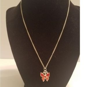 Jewelry - Butterfly Necklace Silver Tone Chain Red and Coral